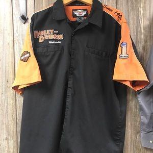 Vintage Harley Davidson Button down Sz L